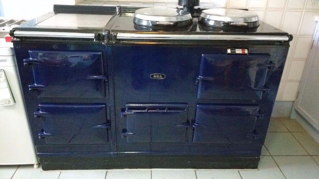 Aga cooker, dark blue, 4 ovens, roasting, baking, simmering, warming, 2 hotplates, warming plate