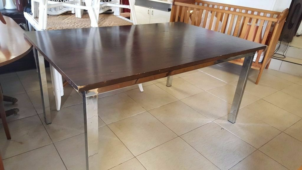 Large Dinning table (NO CHAIRSin Bearsden, GlasgowGumtree - Large wooden top dinning table with strong sturddy metal frame, there is small damage to one corner can be seen in the pictures. L 160cm D 100cm H 78cm Delivery available! Please see all of our ads! Contact us on 0141 954 2323 (or after 6 pm please...
