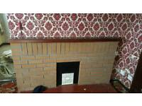 Red brick fire place