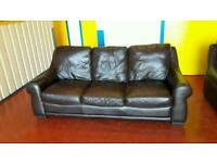 3 ,2 1 brown real leather sofas ** £145 free delivery **