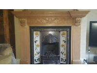 Wooden Fire Surround + Over-mantel mirror