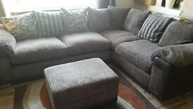 For sale good condition sofa bed with coffee table and pouf seating.