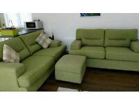 DFS Green 2/3 seater sofa