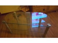 Glass 3 tiered large TV stand
