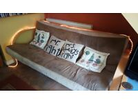 Large Cream Mocha Colour Futon Opens To Super King Size Bed Frame
