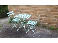 Vintage Antique Style French Folding Metal Garden Set Table & Chairs Blue Cafe Bistro Furniture