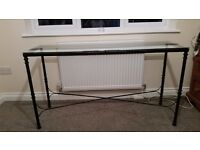 Console Table, top quality glass and metal