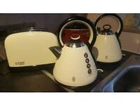 Cream russell hobbs kettle and toaster