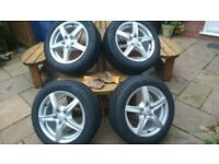 Set of 4 Alloy Wheels & Tyres for VW, Audi, Skoda or Seat