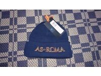 Brand New ROMA Football Beanie Hat Blue Soccer Wooly Winter ITALY