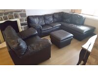 Large Black Leather Corner Sofa, Armchair & pouffe / footstool - FREE if you can collect - RHOOSE