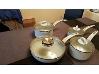 GRAB YOUR SELF A BARGAIN 3PANS AND A SAUTE PAN IN LIGHT GREY WITH SPECKLE EFFECT
