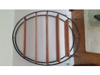 Oval American pine /iron shelving/display unit