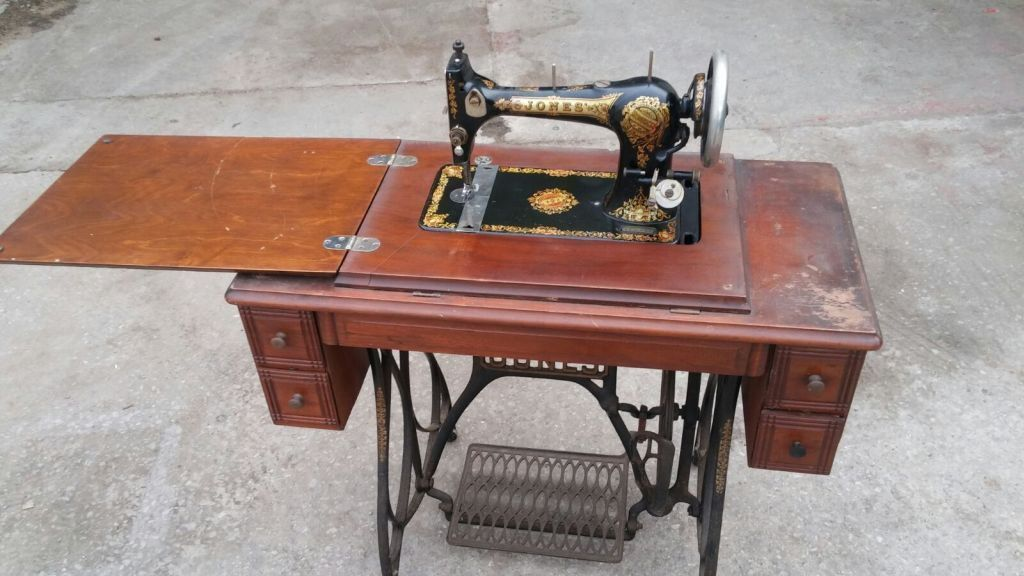 Vintage in fold out jones sewing machine with table cast - Cast iron sewing machine table ...