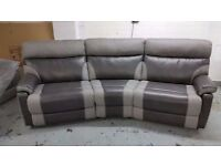 EX DISPLAY RALPH 4 SEATER MANUAL RECLINER CURVED SCS SOFA GREY View/Collect Kirkby NG17 CAN DELIVER