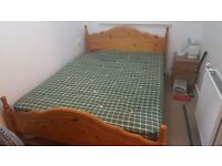 Pine bed with mattress