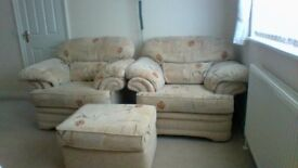 2 Lounge Single Chairs complete with foot stool