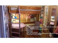 REDUCED TO SELL £150 Stompa high child bed desk and chair / guest bed child furniture
