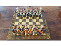 Chess Set - Ancient Greek Mythology - Hand Painted Ceramic and Enamel - Perfect Condition