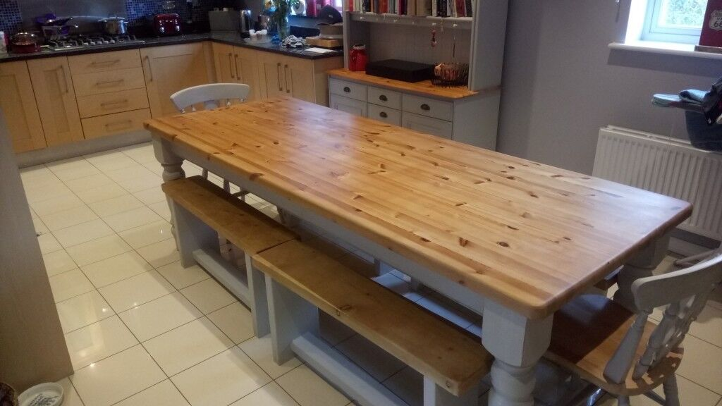 Beautiful restored 8 ft Farmhouse table dresser benches and chairs ...