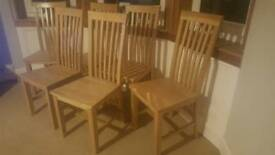 Solid Oak Dining Chairs X 6