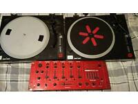 ION decks & kam GMX5 Mkll professional mixer and two huge 240w speakers