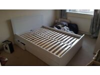White wooden double bed from Ikea