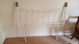 white metal headboard fits double bed