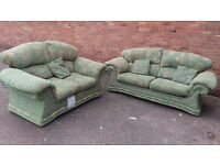 Green fabric patterned 2 and 3 seater sofa set