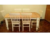 Shabby chic farmhouse style table +6 chairs