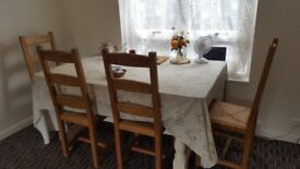 dining table with free 4 chairs solid wood