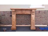 Real pine wood fireplace with matching mirror