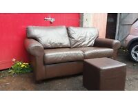 PAIR OF 2 SEAT BROWN LEATHER SOFAS & FOOTSTOOL