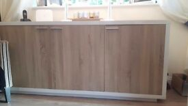 White gloss and wood sideboard nearly new bought for £1500