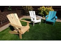 Adirondack garden/deck chair, wooden, handmade chairs.