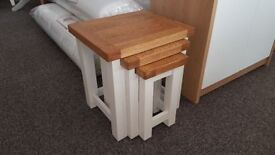 Bretagne Solid Oak Painted Nest of Tables Can Deliver