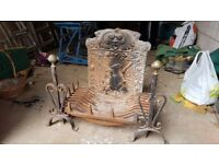 Antique cast iron fire grate / back & wrought iron dogs - v. heavy - collection only