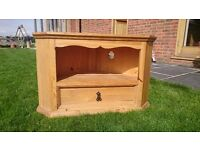 Pine Corner TV unit with drawer