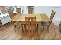 Extending Dining Room Table And 4 Chairs From Oak Furnitureland
