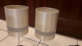 Pair of Cream diamanté lamps