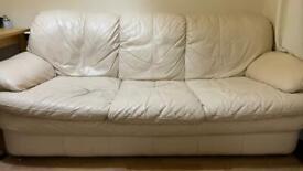 3 seats Leather Sofa beige color