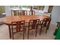 1960s RETRO EXTENDING DINING TABLE AND 6 CHAIRS - TEAK VENEER