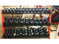 NEW RUBBER HEX DUMBBELLS SET 1KG - 30KG + HEAVY RACK SUITABLE FOR GYMS CROSSFIT GYM CERTIFIED