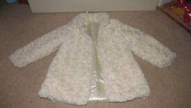 Cream Fluffy Fur Coat 3-4 Years George