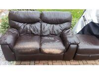 Sofa. 2 seat brown + footstool storage box.