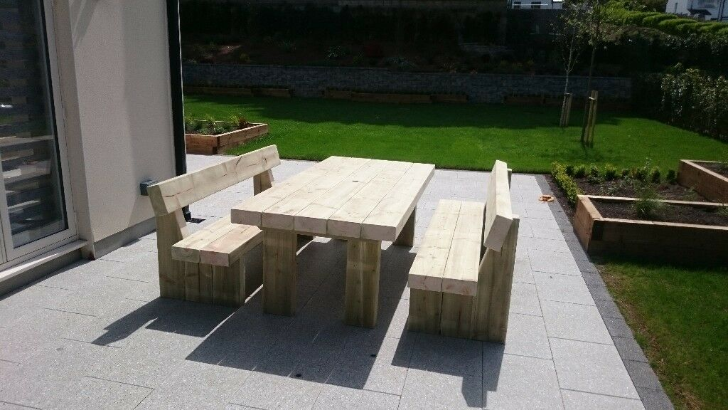 garden table and benches railway sleeper table and bench. Black Bedroom Furniture Sets. Home Design Ideas