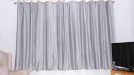 Silver/Grey Lined Curtains and 2 Matching Cushions