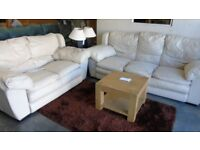 PRE OWNED Cream Leather 3 + 2 Seater Sofas