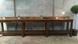 Large retro industrial wooden side table