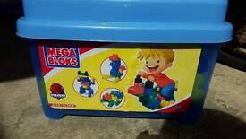 Large plastic crate of mega blocks